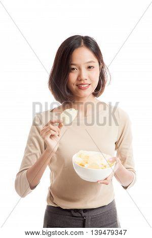Young Asian Woman Eat Potato Chips