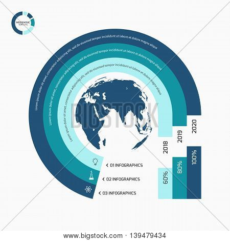 Circle Infographic Template With Globe With 3 Options, Parts, Steps, Processes For Graphs, Charts, D