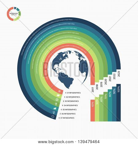 Circle Infographic Template With Globe With 7 Options, Parts, Steps, Processes For Graphs, Charts, D