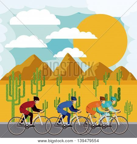 cycling race with beautiful landscape background isolated icon design, vector illustration  graphic