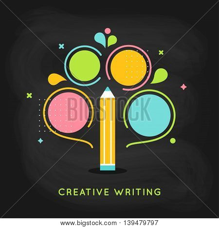 Creative Writing Plan Infographics Vector Template on Chalkboard Background