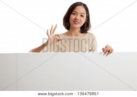 Young Asian Woman Show Ok With Blank Sign