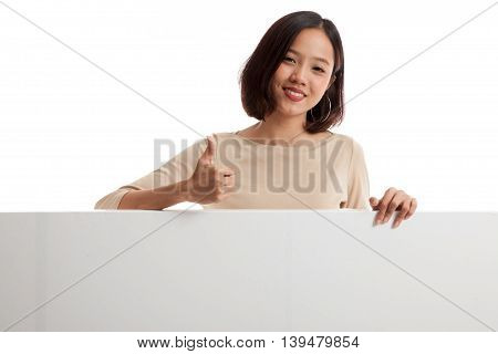 Young Asian Woman Show Thumbs Up With Blank Sign
