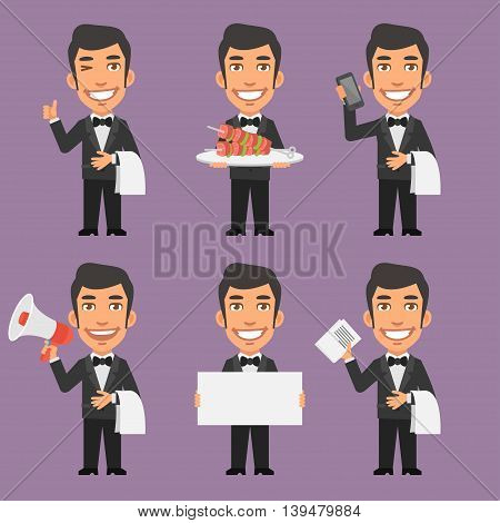 Vector Illustration, Waiter Holds Phone Paper Megaphone, Format EPS 8