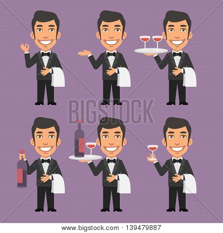 Vector Illustration, Waiter Holds Wine and Towel, Format EPS 8