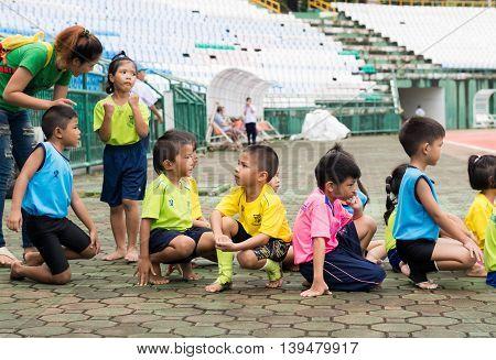 Phuket, Thailand - Jul 13 : Schoolchild Runners Are Preparing In The Stadium