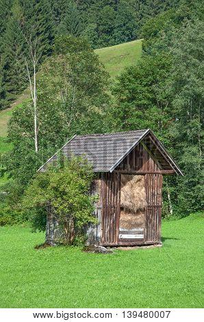 traditional Hay Barn in Wildschoenau Valley in Tirol,Alps,Austria