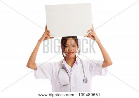 Young Asian Female Doctor Show A Blank Sign Over Head