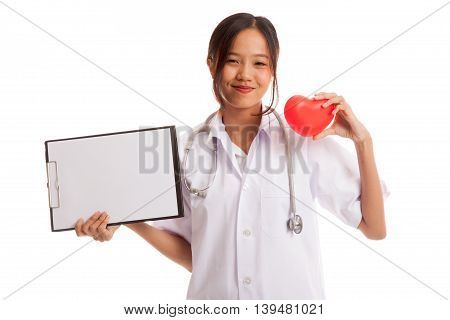 Young Asian Female Doctor With Red Heart And Blank Clipboard