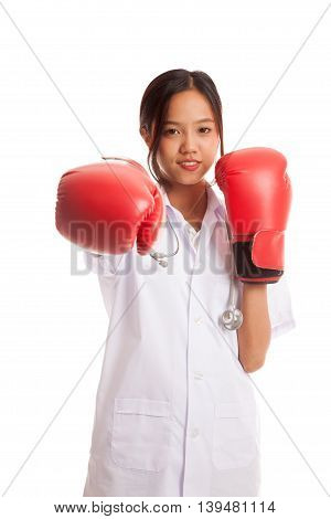 Young Asian Female Doctor Punch With Boxing Glove