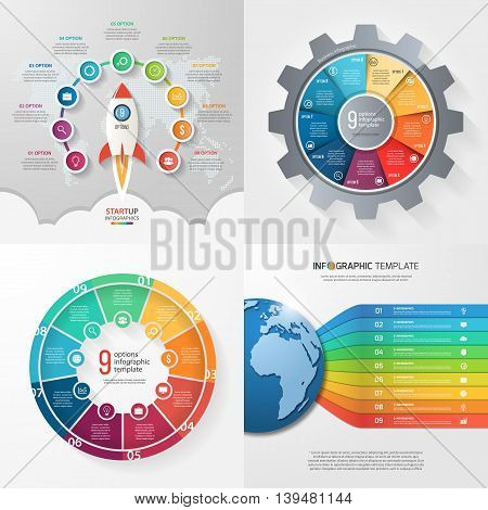 Four infographic templates with 9 steps options parts processes. Business concept.