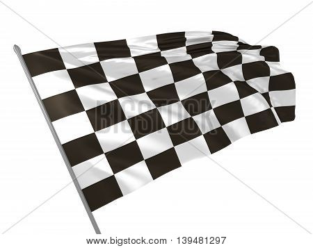 3d illustration of checkered flag waving in the wind