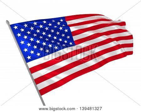 3d illustration of USA flag waving in the wind