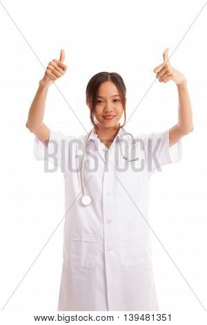 Young Asian Female Doctor Show  Two Thumbs Up