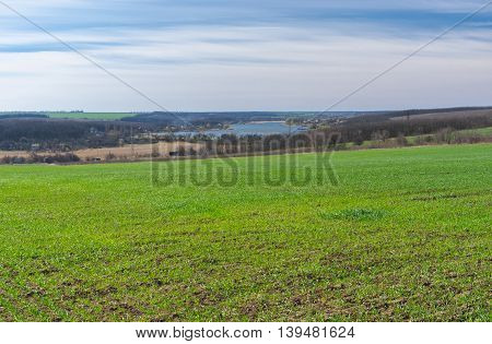 Typical Ukrainian rural landscape in early spring season.