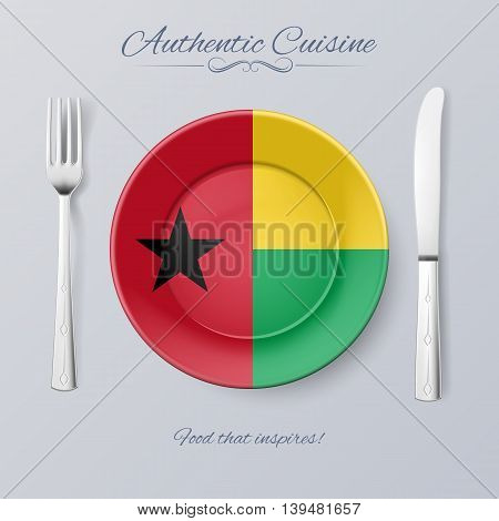 Authentic Cuisine of Guinea-Bissau. Plate with Flag and Cutlery