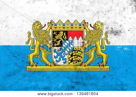 Flag Of Bavaria With Coat Of Arms, Germany, With A Vintage And O