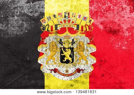 Flag Of Belgium With Coat Of Arms, With A Vintage And Old Look