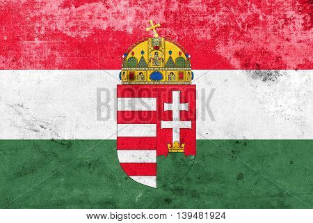 Flag Of Hungary With Coat Of Arms, With A Vintage And Old Look