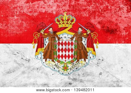 Flag Of Monaco With Coat Of Arms, With A Vintage And Old Look