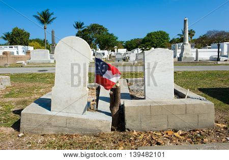 KEY WEST FLORIDA USA - MAY 02 2016: The Key West cemetery is a 19-acres cemetery and about 100.000 people are buried here.