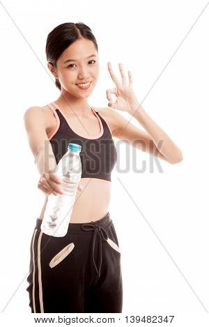 Beautiful Asian Healthy Girl With Bottle Of Drinking Water