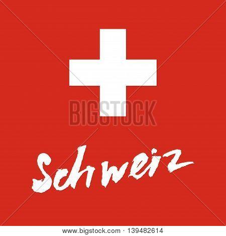 Schweiz hand-lettering calligraphy. Premium Handmade vector Lettering.