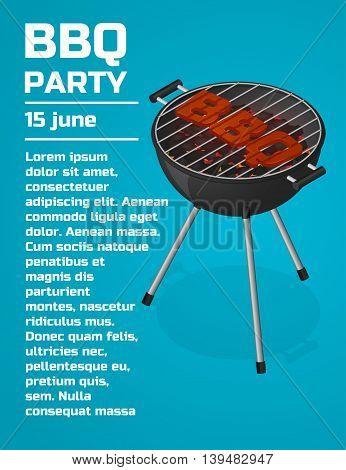 BBQ Party invitation background. Barbecue grill brochure template. Roast beef steak on charcoal. Sear meat. Cooking. Isometric vector illustration