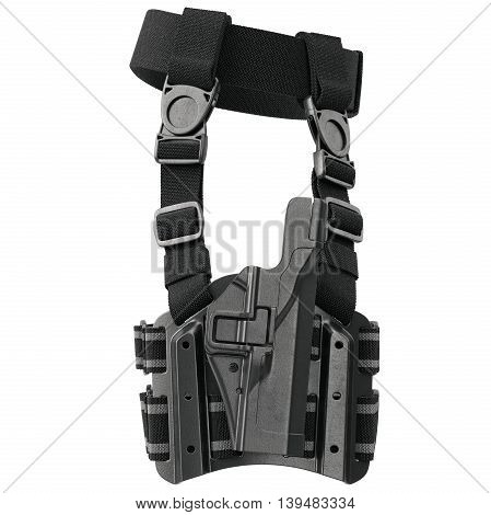 Holster plastic protection for handgun on belt, side view. 3D graphic