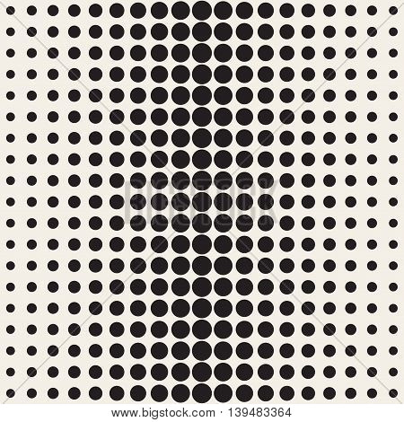 Vector Seamless Black and beige Circle Gradient Halftone Pattern. Abstract Geometric Background Design