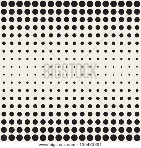 Vector Seamless Black and beige Circles Horizontal Gradient Halftone Pattern. Abstract Geometric Background Design