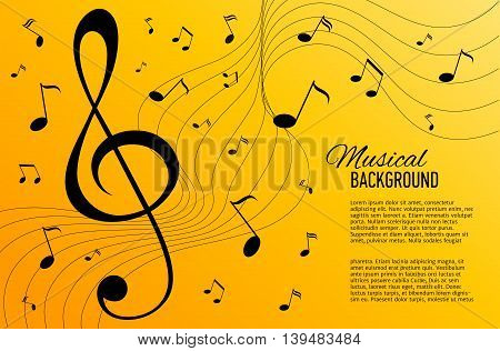 Vector textured yellow background with music notes and key. Banner. Designed text.