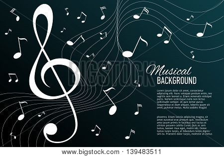Vector textured deep green background with music notes and key. Banner. Designed text.