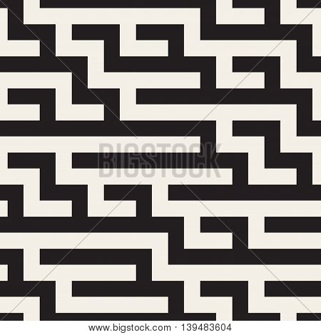 Vector Seamless Black and beige Geometric Maze Lines Pattern. Abstract Geometric Background Design