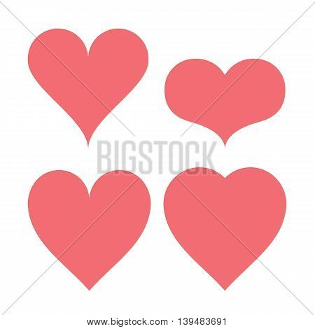 Heart shapes type set ranging from tall to wide
