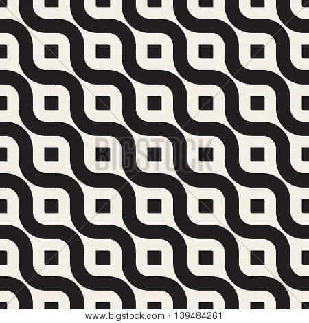 Vector Seamless Black And White Diagonal Wavy Lines Geometric Pattern. Abstract Geometric Background Design