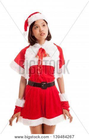 Asian Christmas Santa Claus Girl Look Up