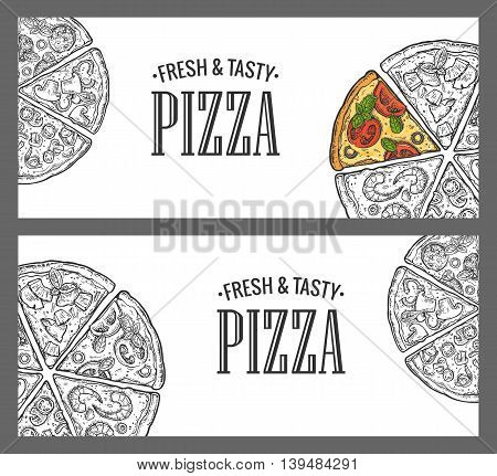 Horizontal poster with monochrome and colorful slice pizza Pepperoni, Hawaiian, Margherita, Mexican, Seafood, Capricciosa. Vintage vector engraving illustration menu, box isolated on white background