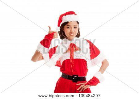 Asian Christmas Santa Claus Girl  Thumbs Up