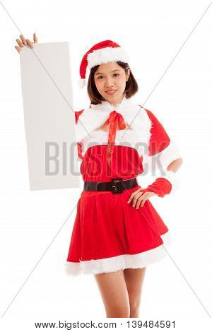 Asian Christmas Santa Claus Girl With Blank Sign