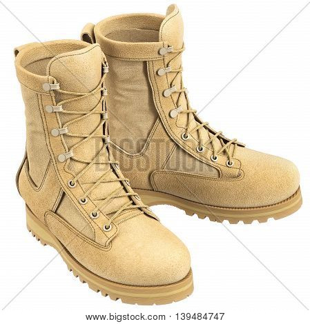 Military boots with laces soldier uniform. 3D graphic