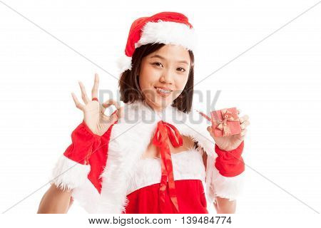 Asian Christmas Santa Claus Girl Show Ok  And  Gift Box  Isolated On White Background
