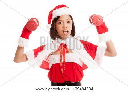 Asian Christmas Santa Claus Girl And  Dumbbells