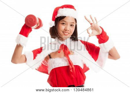 Asian Christmas Santa Claus Girl Show Ok With Red Dumbbell
