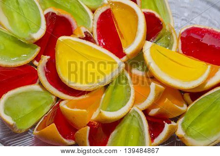 Party Treat - Colorful Jelly In Peel Of Oranges