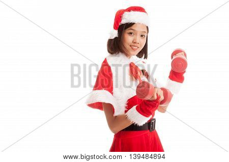 Asian Christmas Girl With Santa Claus Clothes And Red Dumbbells