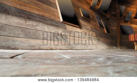Picture frame on wall and floor perspective antique Red Balau wood macro photo Right corner is blur concept antique coffee shop background