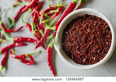 Chilli pepper on the gray background. Hot spicy pepper