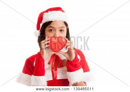 Asian Christmas Santa Claus Girl With Red Heart