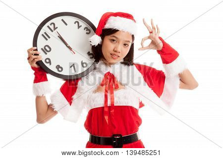 Asian Christmas Santa Claus Girl  Show Ok With Clock At Midnight